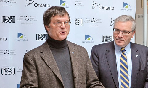 Windfall Executive Director Brent Kopperson with Ontario Minister of Housing, Chris Ballard, MPP, at the announcement of a new Windfall festival